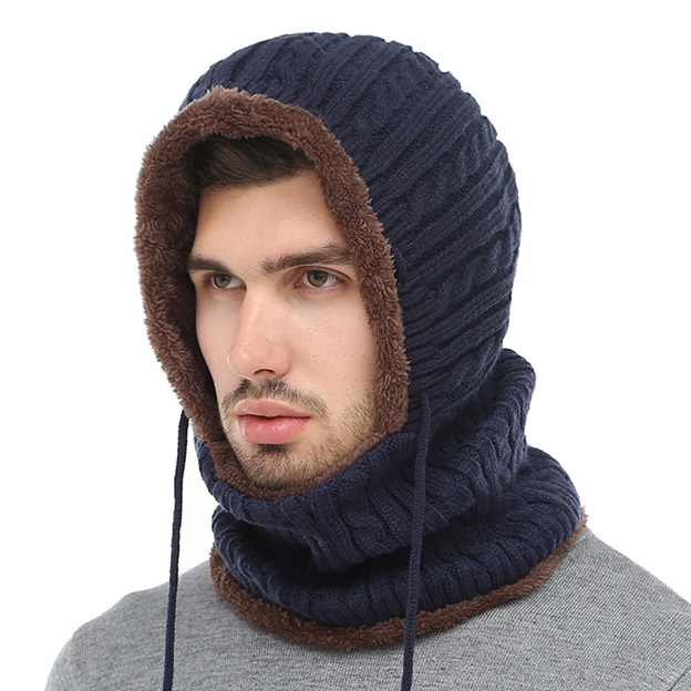 Hooded Scarf Knitted Cap